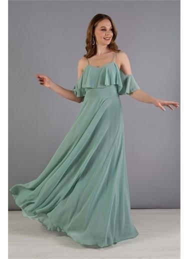 Carmen Carmen Çağla Askılı Uzun Abiye Elbise Yeşil
